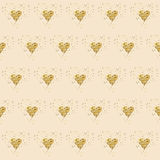 Golden glitter hearts on pink. Tiled abstract background. Endless tinsel shiny backdrop. Valentine's Day gold pat Royalty Free Stock Images