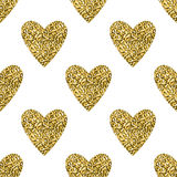 Golden glitter hearts seamless pattern. Stock Image