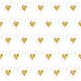 Golden glitter hearts on white. Tiled abstract background. Endless tinsel shiny backdrop. Valentine's Day gold pat Stock Image