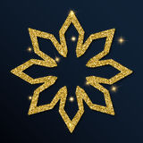 Golden glitter ideal snowflake. Luxurious christmas design element, vector illustration Royalty Free Stock Photo