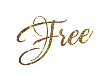 Golden glitter of isolated hand writing word FREE Royalty Free Stock Photography