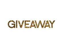 Golden glitter of isolated hand writing word GIVEAWAY Stock Photography