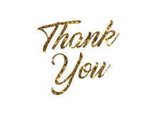 Golden glitter of isolated hand writing word THANK YOU. The golden glitter of isolated hand writing word THANK YOU on white background Royalty Free Stock Image