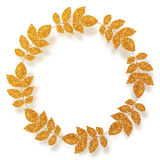 Golden glitter leaves vector circle frame Royalty Free Stock Photo