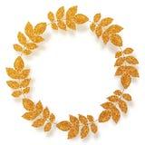 Golden glitter leaves vector circle frame Royalty Free Stock Photo