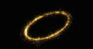 Free Golden Glitter Light Circle Tail, Sparkling Shine Glow Oval Wave. Gold Glittering Magic Shimmer Trail, Bright Light Sparks Royalty Free Stock Image - 159872936
