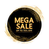Golden glitter line circle around mega sale cover Stock Image