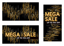 Golden glitter line drop mega sale template stock illustration