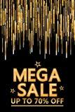 Golden glitter line drop mega sale vertical Royalty Free Stock Image