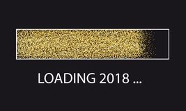 Golden Glitter Loading Bar New Year. Vector Illustration Isolated On White Background Stock Image