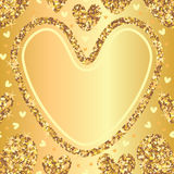 Golden glitter love seamless pattern template  Stock Photos
