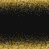 Golden glitter made of hearts. Borders on black valentine background. Vector illustration Royalty Free Stock Photo