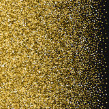 Golden glitter made of hearts. Left gradient on black valentine background. Vector illustration Stock Photo