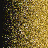 Golden glitter made of hearts. Right gradient on black valentine background. Vector illustration Stock Image