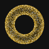 Golden glitter made of hearts. Round bagel frame on black valentine background. Vector illustration Royalty Free Stock Images