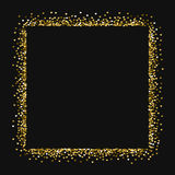 Golden glitter made of hearts. Square abstract shape on black valentine background. Vector illustration Royalty Free Stock Images