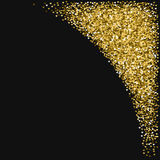 Golden glitter made of hearts. Top right corner on black valentine background. Vector illustration Stock Photo