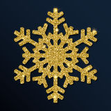 Golden glitter neat snowflake. Royalty Free Stock Photography