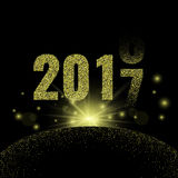 2017. Golden glitter New Year party background. Golden glitter New Year party background. Stock vector Royalty Free Stock Photos