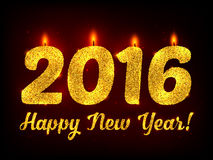 Golden glitter New Year 2016 vector candles. At dark background royalty free illustration