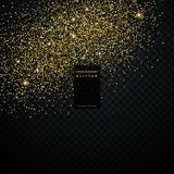 Golden glitter particle dust transparent background. Illustration Royalty Free Stock Images
