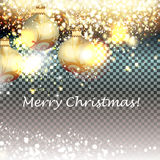 Golden glitter particles with baubles background, effect for lux Royalty Free Stock Images