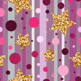 Golden glitter particles and shine. Vector. Stock Photography