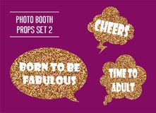 Golden glitter photo booth props vector illustration. Design elements with birthday party speech bubbles Stock Photography