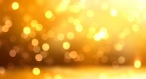 Golden glitter room. Bokeh empty background. New Year interior. Xmas decoration. Luxury style texture. Festive new trend. Stylish image for a variety of design Royalty Free Stock Photo