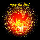 Golden glitter rooster with sparkles on black background. Chinese symbol for the year 2017. Rooster silhouette with gold glitter confetti numbers 2017. Vector Stock Photo