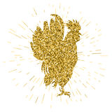 Golden glitter rooster on white background. Hand-drawn doodle silhouette. Vector illustration. Symbol 2017 New Year Chinese horoscope Royalty Free Stock Images