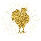 Golden glitter rooster on white background. Hand-drawn doodle silhouette. Vector illustration. Symbol 2017 New Year Chinese horoscope Royalty Free Stock Photo