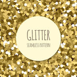 Golden glitter seamless pattern. Golden glitter christmas seamless pattern. Abstract sparkle glittering gold background. Vector shiny texture. For web and print Stock Images