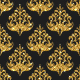 Golden glitter seamless pattern.. Golden gritter seamless pattern. Vector background with damask ornaments. Gold sparkle design. Wallpaper print with gold Stock Photo