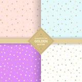 Golden glitter seamless pattern on pastel background. Memphis polka dot background 80`s-90`s style. Vector Illustration stock illustration