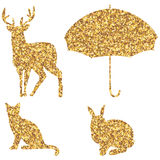 Golden glitter shape set. Illustration golden glitter seer umbrella cat rabbit shape set isolated white color graphic background element Royalty Free Stock Photography