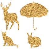 Golden glitter shape set Royalty Free Stock Photography