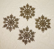 Golden Glitter Snowflakes Ornaments Stock Image
