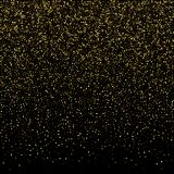 Golden glitter sparkle bubbles champagne particles stars on blac. K background, holiday concept Stock Photography