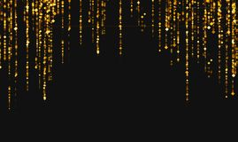 Golden glitter sparkle rhombus particles stars from top on black royalty free illustration