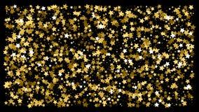 Golden glitter star confetti on a black background