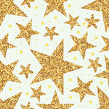 Golden glitter star seamless pattern Royalty Free Stock Images