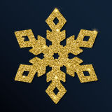 Golden glitter superb snowflake. Luxurious christmas design element, vector illustration Royalty Free Stock Image