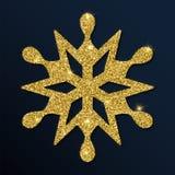 Golden glitter symmetrical snowflake. Luxurious christmas design element, vector illustration Royalty Free Stock Photography