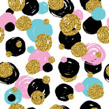 Golden glitter texture with hand draw black,pink,blue circles. Seamless pattern in gold style . Vector design. Celebration metallic background vector illustration