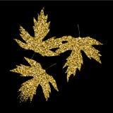 Golden glitter textured fall leaf. Autumn gold design Royalty Free Stock Photo