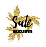 Golden glitter textured fall leaf. Autumn gold design Royalty Free Stock Images