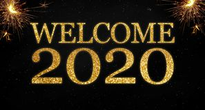 Free Golden Glitter With The Words Welcome 2020 On Black Chalkboard Background Royalty Free Stock Images - 163936869