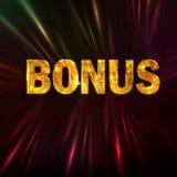 Golden Glittering Bonus text Stock Photos