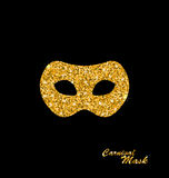 Golden Glittering Carnival or Theater Mask Stock Photography